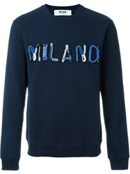 Msgm Cord Appliqua Sweater Blue