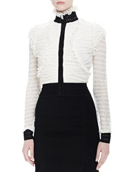 Alexander Mcqueen Ruched Ruffle Button Blouse White