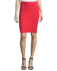 Alexander Wang Ribbed Ponte Pencil Skirt Cherry Red