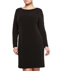 Melissa Masse Long Sleeve A Line Dress Black