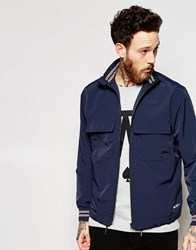 Wood Wood Jacket With Funnel Neck Fasten In Navy Tota