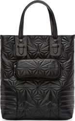 Neil Barrett Black Leather Quilted Prism Tote