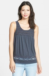 Petite Women's Caslon Boho Lace Trim Tank Grey Ebony