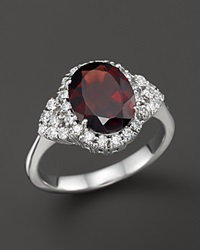 Bloomingdale's Garnet And Diamond Ring In 14K White Gold