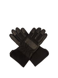 Balenciaga Leather Panelled Felt Gloves Black