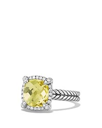 David Yurman Chatelaine Pave Bezel Ring With Lemon Citrine And Diamonds Yellow Silver