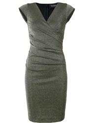 Nicole Miller Metallic Grey Fitted Dress