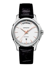 Hamilton Jazzmaster Day Date Auto Stainless Steel And Embossed Leather Strap Watch Brown Silver