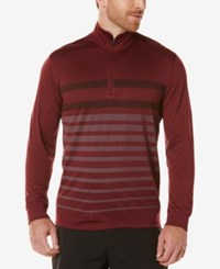 Pga Tour Men's Striped Long Sleeve Performance Polo Dark Burgundy