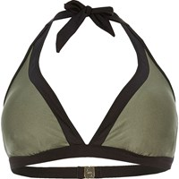 River Island Womens Ri Plus Khaki Colour Block Bikini Top