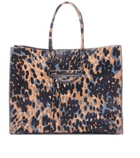 Balenciaga Papier A4 Animal Print Haircalf Tote Multicolored