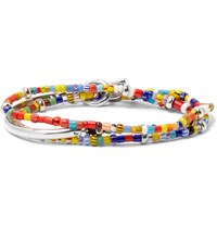 Isaia Saracino Glass And Silver Wrap Bracelet Red