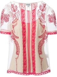 Alice By Temperley Embroidered Sheer Top Nude And Neutrals