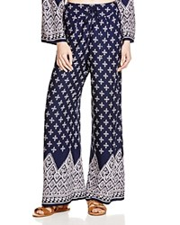 Band Of Gypsies Printed Wide Leg Pants Navy White