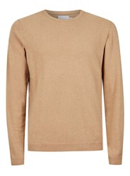 Topman Brown Premium Camel Slim Fit Sweater Containing Cashmere