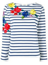 Ports 1961 Floral Embroidered Striped Top Blue