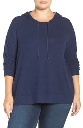 Sejour Plus Size Women's Hoodie Navy Peacoat Pattern