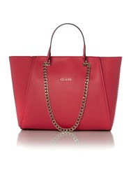 Guess Pink Chain Tote Bag Pink
