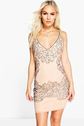 Boohoo Mimi Beaded Cut Out Bodycon Dress Nude