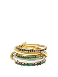 Spinelli Kilcollin Atlas Emerald Sapphire Silver And Gold Ring Yellow Gold