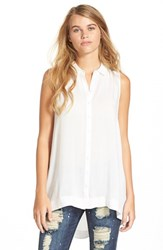 Junior Women's Lush Button Front Sleeveless Tunic