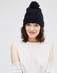 Johnstons Chunky Crochet Hat With Pom Pom Black