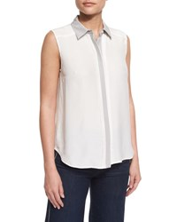 Frame Denim Le Classic Sleeveless Two Tone Top Blanc