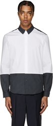 Carven White And Navy Logo Shirt