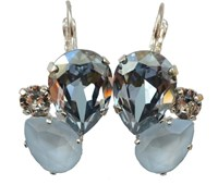 Isabella Tropea Crystal Pear Cluster Earrings Blue Shade And Powder Blue Silver