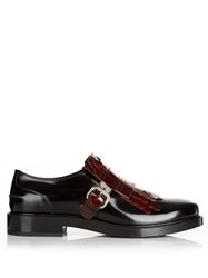 Tod's Gomma Fringed Patent Loafers Black Burgundy