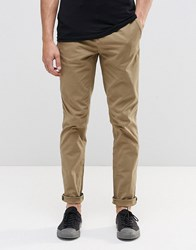 Pull And Bear Slim Fit Chinos In Sand Tan