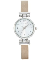 Charter Club Women's Beige Leather Strap Watch 24Mm Only At Macy's Silver
