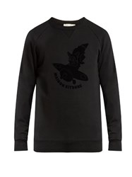 Maison Kitsune Airman Flocked Crew Neck Sweatshirt Black