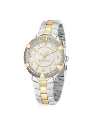John Galliano The Costumier Two Tone Stainless Steel Crystal Women's Watch Silver