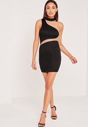 Missguided Asymmetric Neck Mesh Insert Mini Dress Black Black