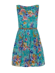 Mela Loves London Flower Print Summer Prom Dress Turquoise