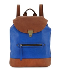Neiman Marcus Turn Lock Flap Faux Leather Backpack Royal Blue Brown
