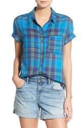 Women's Treasure And Bond Plaid Rolled Short Sleeve Shirt