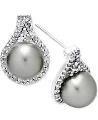 Macy's Cultured Tahitian Pearl 9Mm And Diamond 5 8 Ct. T.W. Drop Earrings In 14K White Gold Black
