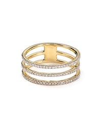 Adina Reyter Pave Diamond Triple Band Ring Gold
