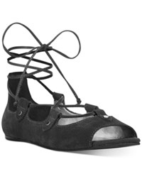 Carlos By Carlos Santana Eden Peep Toe Lace Up Flats Women's Shoes Black