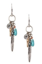 Sparkling Sage Detailed Mixed Charm And Feather Drop Earrings Blue