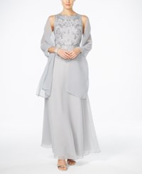 J Kara Hand Beaded Chiffon Gown And Scarf Silver