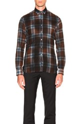 Lanvin Big Yarn Top Stitch Shirt In Brown Checkered And Plaid Brown Checkered And Plaid