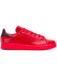 Raf Simons Adidas By Perforated Logo Sneakers Red