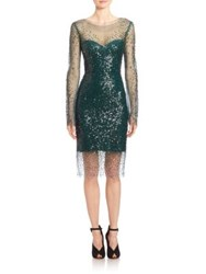 Monique Lhuillier Embellished Long Sleeve Illusion Dress Forest Green