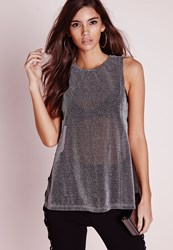 Missguided Tab Side Tunic Top Silver