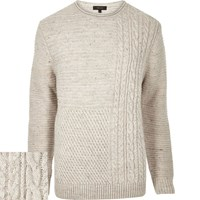 River Island Mens Ecru Cable Knit Jumper Beige