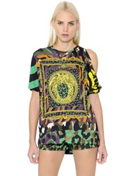 Versace Cutout Shoulder Printed Jersey T Shirt