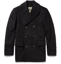 Burberry Slim Fit Wool And Cashmere Blend Peacoat Black